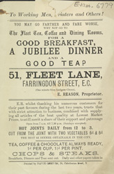 Advert for the Fleet Tea, Coffee & Dining Rooms